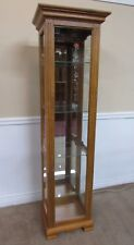 HUDSON OAK CURIO CABINET LIGHTED DISPLAY, MIRRORED BACK,