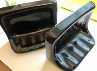 One or Two Retro Black Ceramic Soap Dish Tub Shower Mid Century Modern Vintage