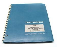 Tektronix Instruction Manual f. D41 Storage Display Unit, Bedienung & Service
