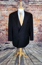 BRIONI 46L Italy Blazer DBL Breast Charcoal Grey Plaid Wool Jacket Sport Coat