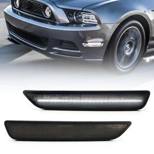 Smoke Lens White Led Front Bumper Side Marker Light for 2010-2014 Ford Mustang