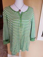 89cca7902de88 Laura Scott Woman Size 16 18 W Knit Top 3 4 Sleeve Green White
