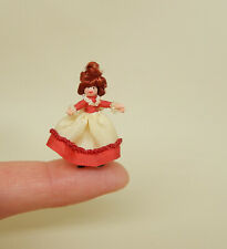 Vintage Teeny Tiny Toy Doll in Red Dress Artisan Dollhouse Miniature 1:12