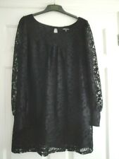 WAREHOUSE DRESS SIZE 14 BLACK LACE LINED LADIES GIRLS A LINE IDEAL PARTY