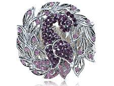 Purple Gradient Crystal Rhinestone Peacock Flirty Tail Bangle Bracelet Jewelry