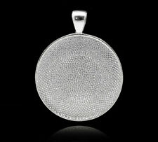 25 HQ Silver Plated Round Cameo Frame Pendants 4.1x3.3cm(Fit 30mm)