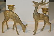 Pair VTG Reindeer Brass Deer Figurines Candle Holders Buck Doe Christmas