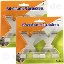 Türhaken-Set aus Edelstahl Haken Kleiderhaken Türgarderobe 4-teilig 7x5cm X-Form