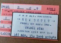 New Order - US Concert Ticket Stub 1986 Colorado.