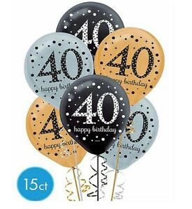 40th Sparkling Celebration Fortieth Birthday Latex Balloons Party Supply Decor