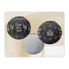 Negro, Plata y Oro Feliz Año Nuevo Estampado Papel Linterna Adornos X 3