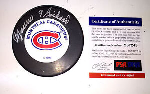 MAURICE RICHARD SIGNED MONTREAL CANADIENS PUCK PSA/DNA COA Y67243