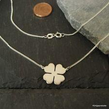 Kleeblatt Halskette in 925er Silber, 50cm, Glück Klee, Glücksklee Kette, NEU