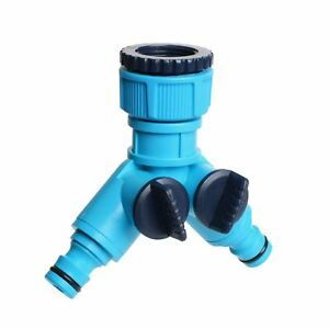 """Double Distributor Valves 1>3/4"""" Tap Garden Pipe Hose Joiner 2-Way Out 1/2"""" BL"""