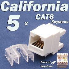 5 Pcs LOT Keystone 8P8C CAT6 RJ45 Network 110 Style Socket Punch Down Jack White