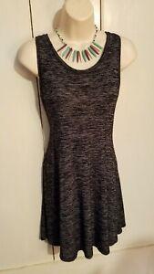 Mudd Grey Black  Marled Sleeveless Racerback Tank Sun Dress Womens Juniors L