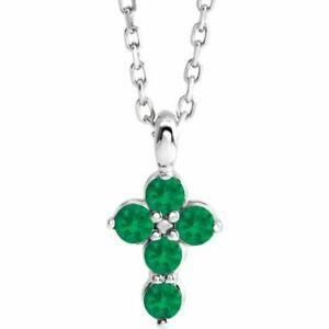 """Genuine Emerald Cross 16-18"""" Necklace In Platinum"""