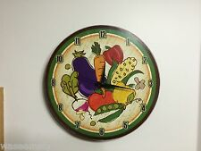 Country Veggie Vegetable Garden Colorful Wooden Kitchen Wall Clock Accent Decor