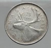 1953 CANADA United Kingdom Queen Elizabeth II Silver 25 Cent Coin CARIBOU i62916