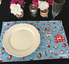 2 RubeBee Handmade Christmas Table Mats with Napkins Santa Polka Dots