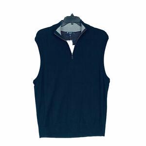 Daniel Cremieux 1/4 Zip Sweater Vest XL Navy Blue 100% Supima Cotton NWT NEW