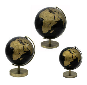 CONTEMPORARY BLACK AND GOLD ROTATING GLOBE ON METAL BASE ATLAS TABLE ORNAMENT