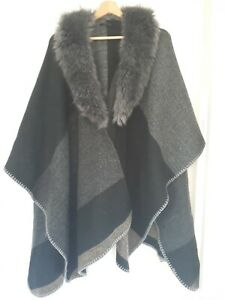 Wrap With Faux Fur Collar