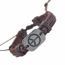 Peace Genuine Leather Bracelet Unisex Love Hope Happiness Dream Art