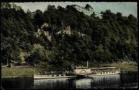 ~1950/60 Schiffe Fluss Weser Dampfer Schiff passiert Schloß Fürstenberg color AK