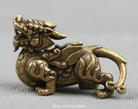 "2.2""Curio Chinese Bronze Animal Kylin Chi-lin Qilin Pixiu Beast Small Statue 43g"