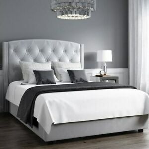 Safina Wing Back Double Ottoman Bed in Silver/Grey Velvet