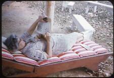 Woman & Kitten Cat on Lounge Chair Work Crossword Puzzle Vtg 1950s Slide Photo