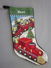 Lands End Needlepoint Christmas Stocking BEAU Monogrammed Toy Train New