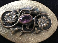 Vintage Hammered Brass Victorian Gold Buckle with flowers and amethyst stone