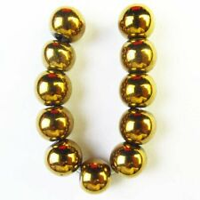 11Pcs/set 8mm Gold Hematite Round Ball Pendant Bead F41829
