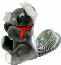 NEW PLUSH KOALA SOFT TOY WITH HIDDEN ZIP-UP CD/DVD/BLU-RAY DISK X 16 CARRY CASE