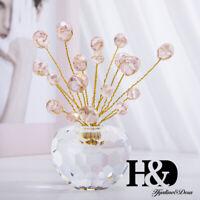 Flat Beads Crystal Ornament Cut Glass Flower Pot Figurine Paperweight Gift Pink