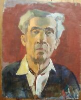Russian Ukrainian Soviet Oil Painting male portrait Postimpressionism man
