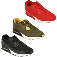 Mens Trainers Lace Up Running Bubble Shoes Mesh Jogging Gym Sports Casual New