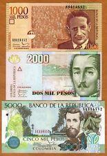 SET Colombia, 1000;2000;5000 Pesos, 2013-2015, P-456-457-452, UNC