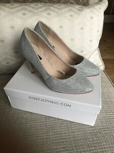 New In Box Quiz Silver Sparkly Court Shoes Wedding Occasion UK 4 Wide Fit
