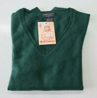 PULL TAILLE L SWEATER DONNA 100% PUR CASHMERE CACHEMIRE PURE LORD & TAYLOR VERT