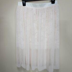 Victoria's Secret NWT Tulle & Floral Lace Skirt Lingerie coconut white size M