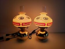 2 Budweiser Beer Sign Vintage Wall Sconces Lamp Light Hurricane Oil Style 1981