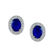 925 Sterling Silver Formal Stud Sapphire and CZ earrings with Lever Backs