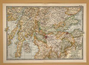 Original  Encyclopaedia Britannica Map of Scotland Central Part from 1903