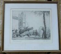 Vintage Etching Original  Print Tower Bridge London Signed by Dennis Higgins