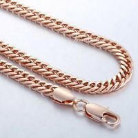 """18-36"""" Mens Womens Rose Gold Plated 5mm Double Curb Cuban Link Chain Necklace"""