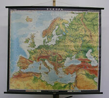 Schulwandkarte Old Europakarte 104x93c ~ 1980 Vintage Old Europe School Wall Map