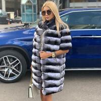 Women's Chinchilla Full Pelt Real Rex Rabbit Fur Vest Coat Jacket Gilet Overcoat